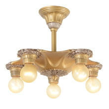 5-Light Duo-toned Gilt Bare Bulb Fixture C1925