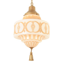 Classical Revival Pendant w/Decorated Schoolhouse Shade c1930