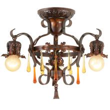 Unusual 3-Light Revival-Style  Strap Chandelier C1925