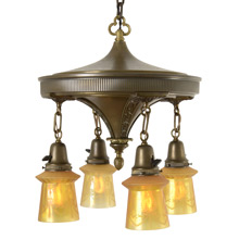 Decorative 4-Light Pan Fixture W/Classical Motifs, C1920