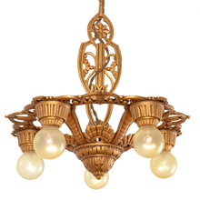 Late Deco Gold Gilt 5-Light Chandelier C1929