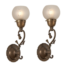 Pair of Brass Victorian Sconces w/ Cut Glass Shades c1910