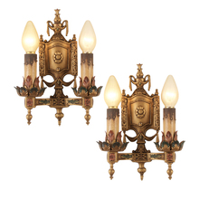 Pair of Classical Revival Polychrome Sconces w/ Festoon Motif c1928