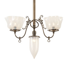 Transitional 3-Light Victorian Fixture w/ Swirl Opalescent Shades c1910