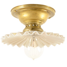 Brass Semi-Flush Fixture w/Petite Pleated Opal Reflector c1905