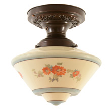 Flush Fixture W/Lovely  Hand-Painted Shade C1930