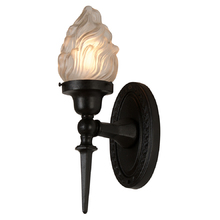 Classic Torch Wall Bracket w/ Flame Shade c1925