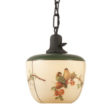 Classic Chain Pendant w/ Stenciled and Painted Shade c1928