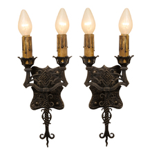 Pair of Hollywood Gothic Revival Sconces c1928