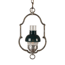 Entry Hoop Pendant w/ Green Glass Chimney c1928