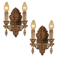 Pair of Revival Style 2-Light Sconces w/ Flora Motif c1928