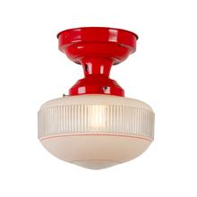 Bright Red Semi-Flush w/ Dual Opacity Shade c1935