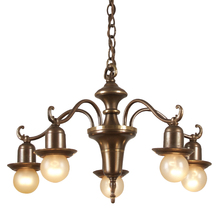 Subtle Revival 5-Drop Chandelier c1928