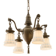 Colonial Revival Chandelier w/ Sweet Pressed Shades c1928