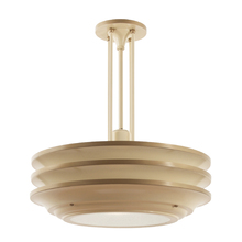 Streamline 3-Tiered Pendant in Cream and Bronze Tones c1940