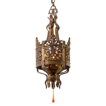 Ornate Heraldic Wrought Fixture with Knight Motif, C1925