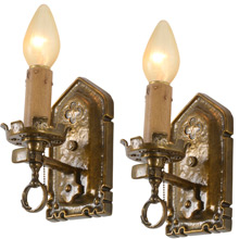 Pair Of Gothic-Style Candle Sconces by Markel Electric Co., C1930