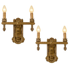 Pair of Impressive Gilt Classical Revival Wall Sconces C1910