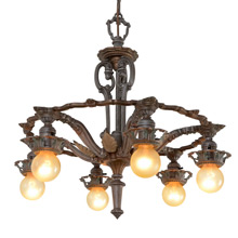 Ornate Polychrome Revival-Style 6-Light Chandelier, c1929
