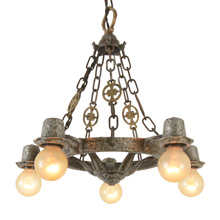 Rustic Revival-Style 5-Light Chandelier, C1930