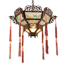 Remarkable Wood and Glass Chinese Pendant W/ Tassels C1910