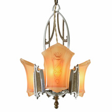 3-Light Sun Tan Series Heraldic Chandelier, C1935