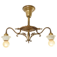 Sweet 2-Light Semi-Flush Fixture w/ Alabaster Bobeches c1930s
