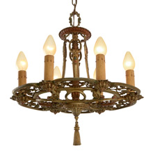 Ornately Cast 6-Light Candle Chandelier C1929