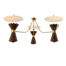 Stunningly Mid-Century Gypsy Lounge 3-Light Chandelier C1963