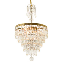 Impressive Crystal Chandelier W/ Glass Center Post C1940
