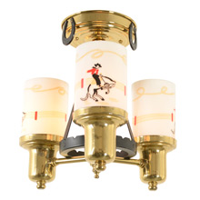 Mid-Century Bucking Bronco 3-Light Chandelier C1955