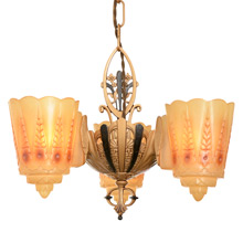 Remarkable Art Deco Chandelier W/ Reversible Slipper Shades C1930