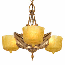 Exuberant Kupferberg & Son Slipper Shade Chandelier C1932