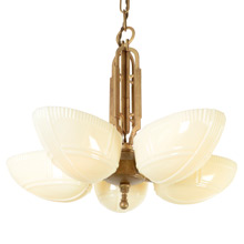 Machine-Age 5-light Slipper-Shade Chandelier C1935