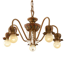 5-Light Colonial Revival Bare Bulb Chandelier by Moe Bridges c1928