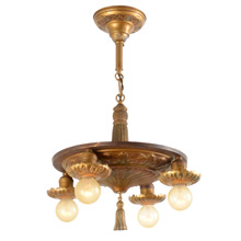 Stylized Acanthus Leaf Chandelier W/ Original Polychrome C1925
