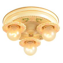 Small Floral 3-Light Flush Pan Fixture C1925