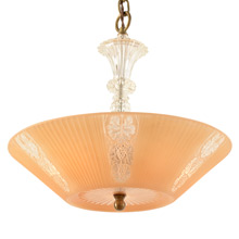 War-Era Peach Center-Post Bowl Chandelier C1940