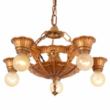 Demure Deco 5-Light Bare Bulb Chandelier c1930