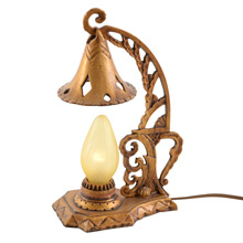 Ornate Antique Gilt Romance Revival Boudoir Lamp c1930