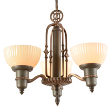 3-Light Cup Shade Chandelier W/ Art Deco Details, C1935