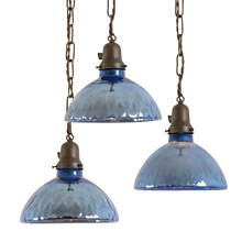 Set of 3 Fabulously Worn Mercury Glass Pendants C1925