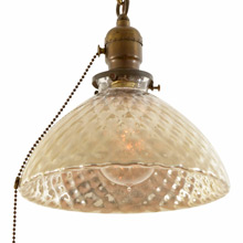 Chain Pendant W/ Faded Quilted Mercury Glass Shade c1925