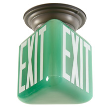 "Flush Ring w/ 3-Sided Green ""Exit"" Shade c1935"