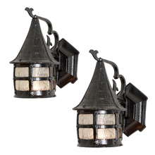 Pair of Storybook Porch Lanterns W/Wavy Glass, C1930