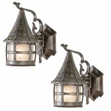 Pair of Storybook Porch Lanterns W/Pebbled Glass, C1930