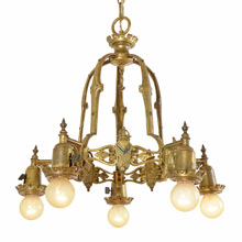 Cast Brass Heraldic Chandelier w/ Original Polychrome c1929