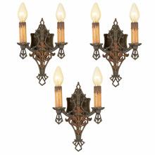 Set of 3 Romance Revival Double-Candle Sconces c1928
