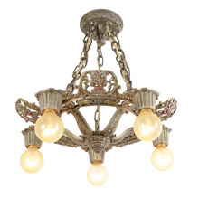 Ornate 5-Light Polychrome Chandelier by Riddle c1929