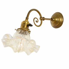 Petite Late-Victorian Wall Bracket with Opalescent Glass Shade c1905